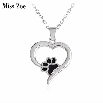 Miss Zoe I Love Dog Paw Necklace Black Paw Claw Heart Pendant Necklace Cat Kitten Puppy Pet Animal Jewelry Gift for Dog Lover