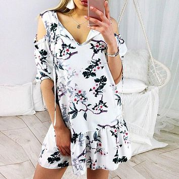 Sexy v neck ruffle white dress women High waist lace-up short dress summer Streetwear casual dress female vestidos