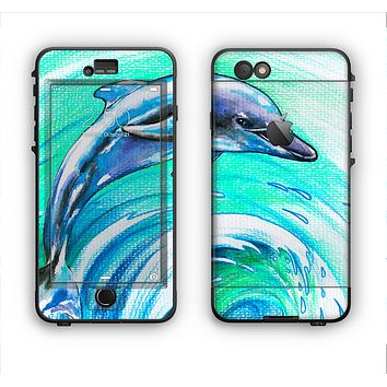 The Pastel Vibrant Blue Dolphin Apple iPhone 6 Plus LifeProof Nuud Case Skin Set