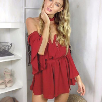 Sexy bustier chiffon jumpsuit romper