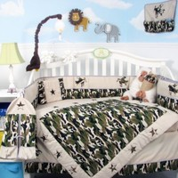 SoHo Boy Camouflage Army Baby Crib Nursery Bedding Set 13 pcs included Diaper Bag with Changing Pad & Bottle Case:Amazon:Baby
