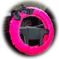 Hot barbie pink fluffy furry car steering wheel cover with black satin bow
