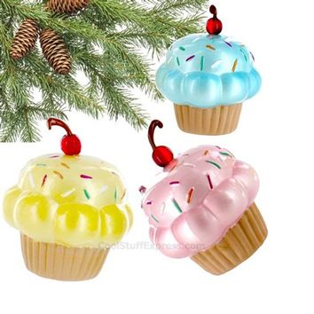 Cupcake Set of Three Glass Holiday Ornaments, Fun & Unique Gifts