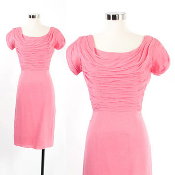 Vintage 60s DRESS / 1960s Bubblegum Pink Silk Chiffon Wiggle Fit Cocktail Party Dress XS