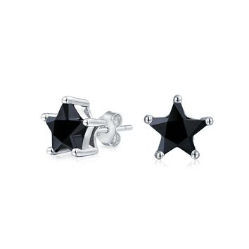 Black CZ USA Patriotic Rock Star Stud Earrings 925 Sterling Silver