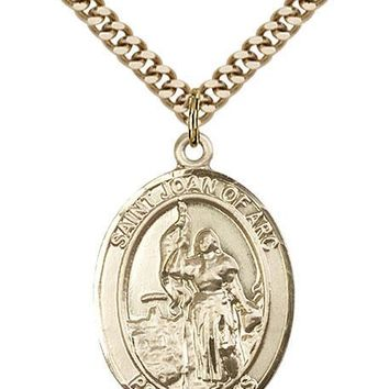 14K Gold Filled St Joan Of Arc Army Military Soldier Catholic Medal Necklace 617759531541