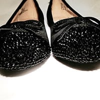 Black flats with beautiful black rhinestones covering the toes, ballet flats with rhinestones, black ballet flats