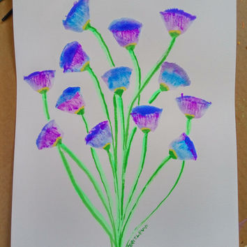 "50%OFF Floral Watercolor painting Floral Art blue and purple flowers Wall Art , 13"" Original"