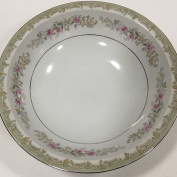 Vintage Kenwood Meito Fine China Design Border Silver Trim Pink Roses Japan Bowl