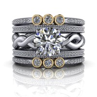 Woven Solitaire Engagement Ring - Stackable Wedding Bands - Insieme™ Bridal Stackables