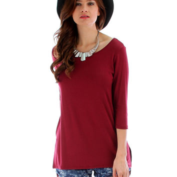 BURGUNDY HI-LO TUNIC TOP WITH SIDE SLITS