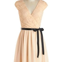 ModCloth Pastel Mid-length Cap Sleeves A-line Champagne at Midnight Dress in Moonlight