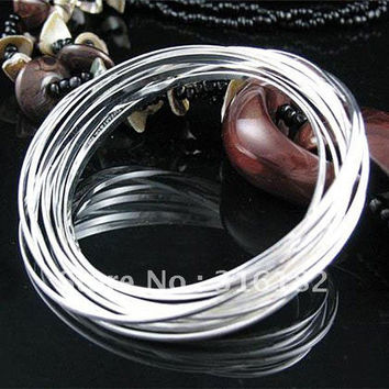Free Shipping  Fashion Jewelry ,10 circle bangles ,925 Stamped silver plated  bangles .  jewelry,  B85