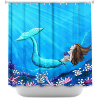 Mermaid shower curtain, mermaid bathroom, shower curtain for bathroom