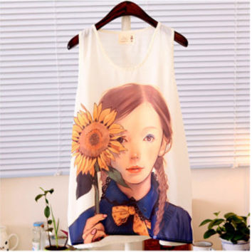 2015 Nette Cartoon Fashion Blouse Cami Printed Damen Vests Tank Tops Blouse PE3058*50