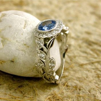 Handmade Square Cushion Cut Light Blue Sapphire Leaf & Vine Engagement Ring in… [pr016] - $0.99 : Lowest price, Supply all kinds of cheap fasion jewelry at Cost21.com