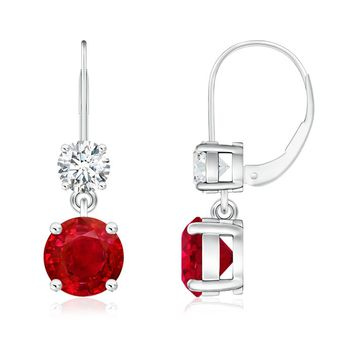 Round Ruby and Diamond Leverback Dangling Earrings