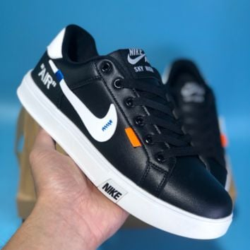 DCCK2 N408 Nike Air Blazer Mid SKY HIGH Off White Leather Casual Skate Shoes Black White