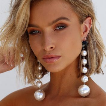 Ball Drop Earrings (White)