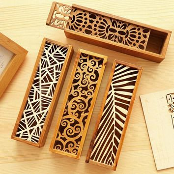 Hollow Wooden Pencil Case Storage Box School Gift For Children Friends