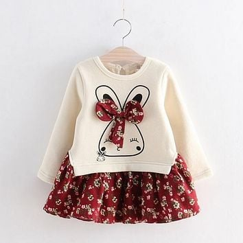 Hot Sale Cute Rabbit and Flowers Printed Girls Long Sleeve Dress 2017 Winter Autumn Baby Girl Princess Dress 2 Color