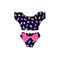 Ice Cream Print Crop Top Bikini with bow in the back! Adorable Kids Swimwear!