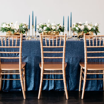Navy Sequin Tablecloth