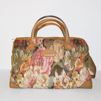 Vintage Floral Print Bag Adolfo Luggage Weekender Bag Floral Print Tapestry Duffle Bag Carry On Overnight Bag