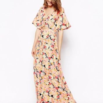 ASOS Maxi Dress In Botanical Print With Open Front - Print