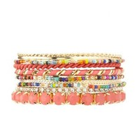 Coral Colorful Beaded Bangles - 10 Pack by Charlotte Russe
