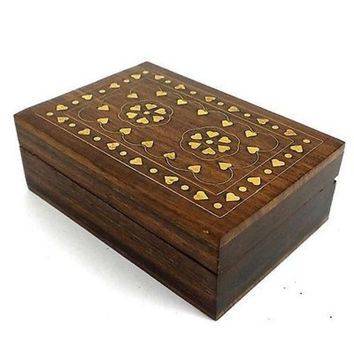 Handcrafted Sheesham Wood and Inlaid Brass Hearts Box - Noahs Ark (B)