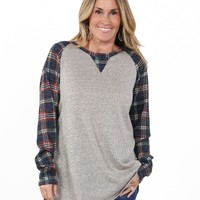 Plaid Sleeve Raglan