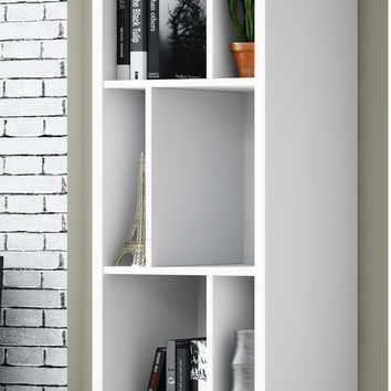 Tall Cubby Bookcase White Satin