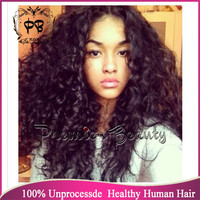 Freeshipping curly human hair wig glueless full lace wigs 100% brazilian hair full lace wig natural black with hairline for  women