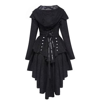 coat asymmetric autumn black women cotton blends trench winter overcoat cape lace up retro goth coats new