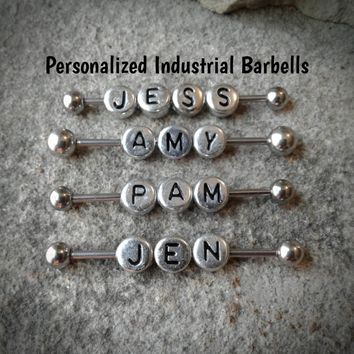 Personalized Industrial Barbell Body Jewelry 14ga Surgical Steel Spike Ends