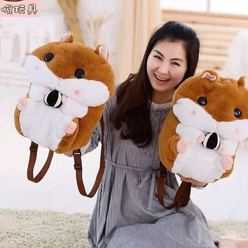 Candice guo Super Q cartoon chubby hamster squirrel plush toy doll backpack shoulder bag birthday gift 1pc