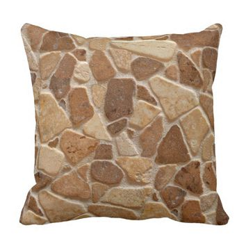 Wheatish Tan Sandstone Pebbles Throw Pillow