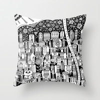 small town Throw Pillow by Asja Boros