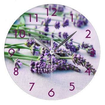 Lavender on a gray cloth french country style large clock