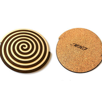 Wooden Spiral Coasters Personalized Wooden Gift  Custom Wedding Gift Groomsman Ideal Gift Idea Fathers Day Engraved Gift for Him for Her