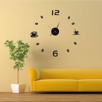SZS Hot Coffee Tea Cup 3D Wall Clock Quartz Battery Room Home Kitchen Cafe Decoration black red