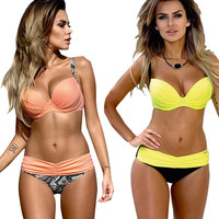 Bikini Set 2017 Summer Low Waist Swimwear Women Sexy Bench Swimsuit Bathing Suit Push Up Biquini Brazilian Maillot De Bain BK313