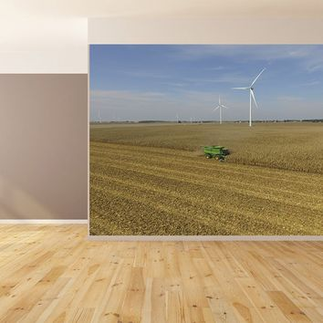 Shelling Corn Combining Harvest Windmill Custom Designed Wallpaper Peel and Stick