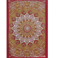 Red Twin Indian Star Print Hippie Dorm Decor Tapestry Wall Hanging Art
