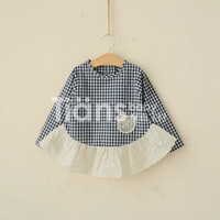 Retail children plaid dress girls falbala long sleeve doll shirt kids clothing girls princess dress tops 2716