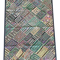 Mogul Green Wall Tapestry Vintage Kutch Patchwork Embroidered Table Throw Wall Decor
