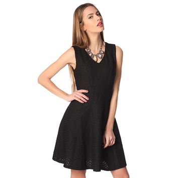 Black midi skater dress with herringbone detail