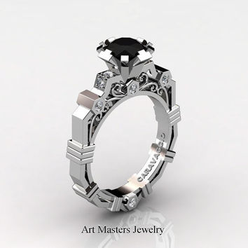 Caravaggio Modern 14K White Gold 1.0 Ct Black and White Diamond Engagement Ring R624-14KWGDBD