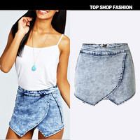 Summer Irregular Casual Denim Dress Pants Shorts [6034599617]